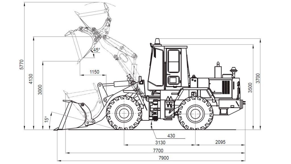 Технологическая схема универсального погрузчика Амкодор 352С-02