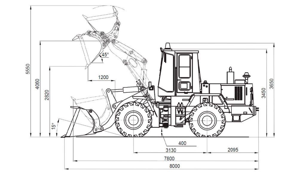 Технологическая схема универсального погрузчика Амкодор 352С