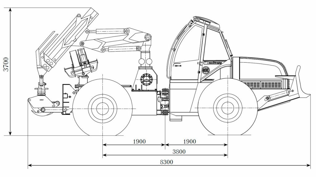 Технологическая схема тягача трелевочного Амкодор 2243