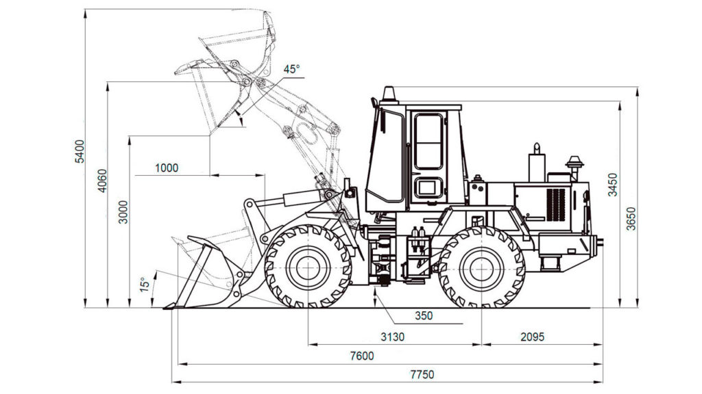 Технологическая схема фронтального погрузчика Амкодор 352