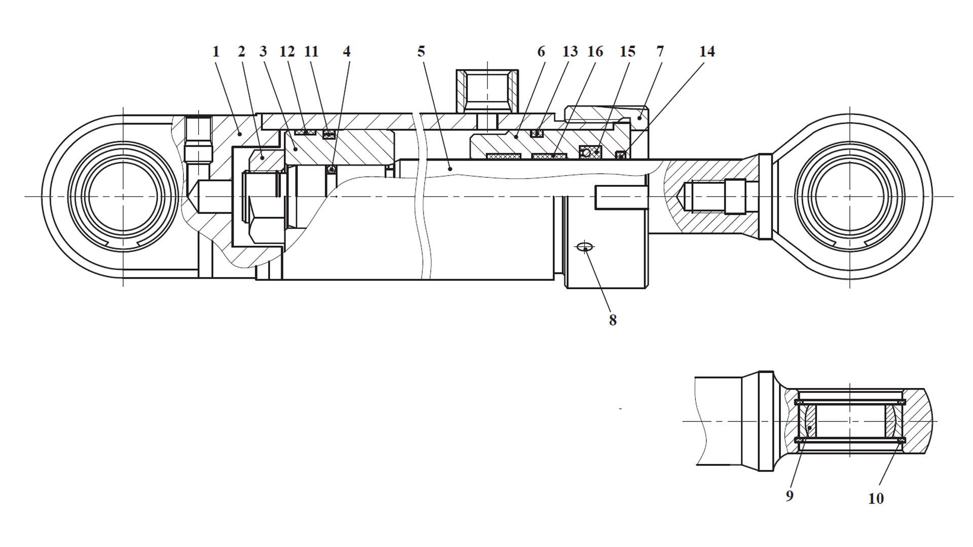 Гидроцилиндр ЦГ-80.56х400.765.11.001