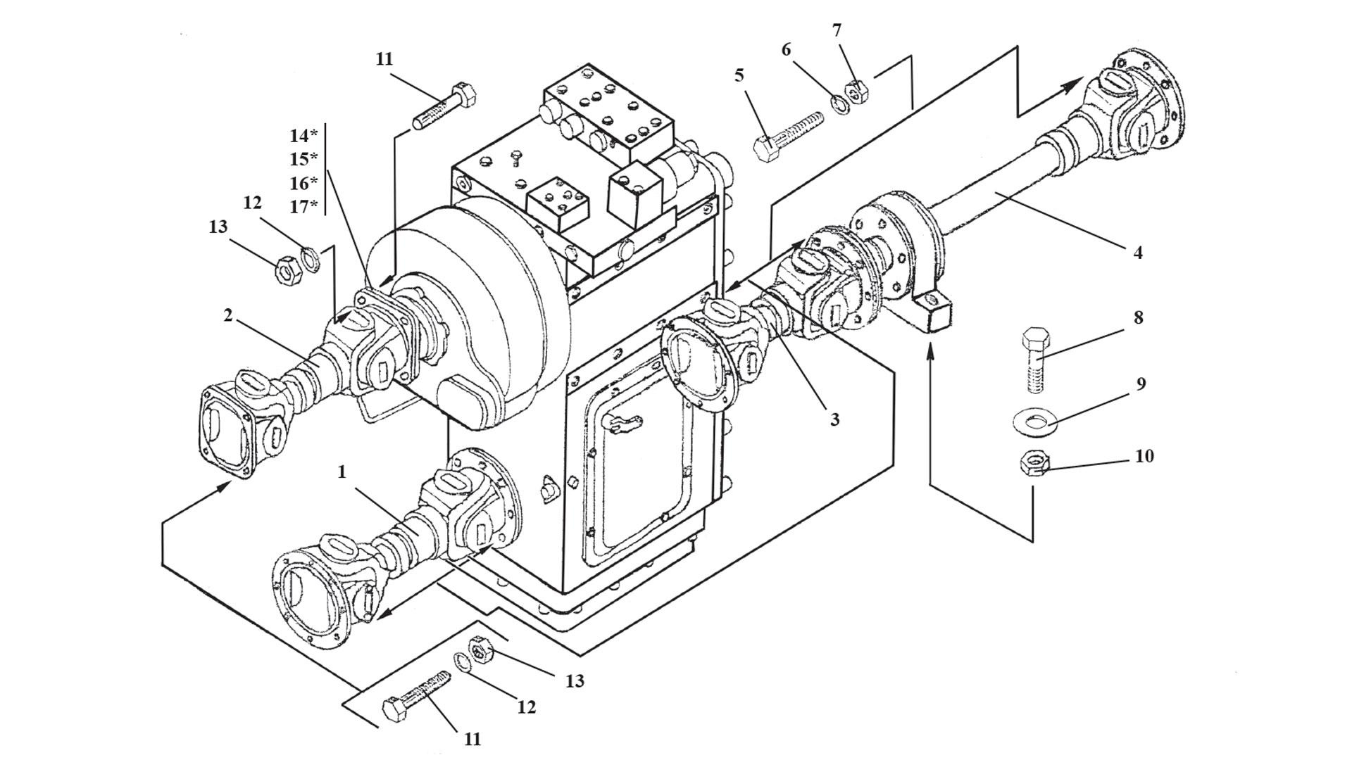 Установка карданных валов ТО-18Б3.04.00.000-01
