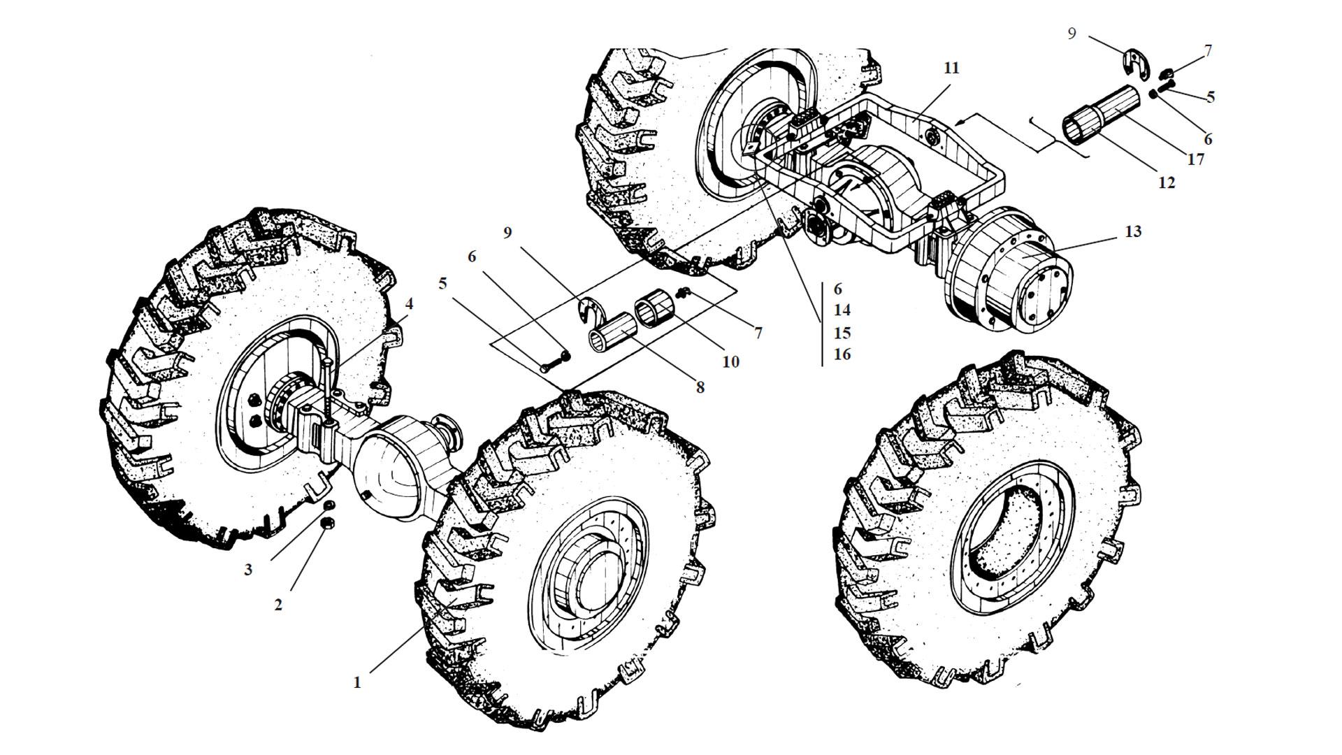 Установка мостов и колес ТО-18Б.75.00.000-04