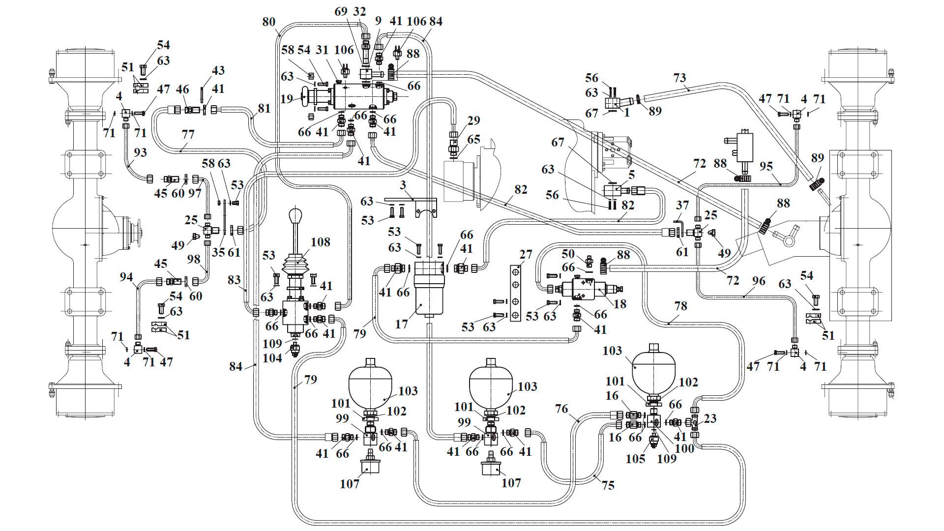 Гидросистема тормозов 342B.10.00.000-02