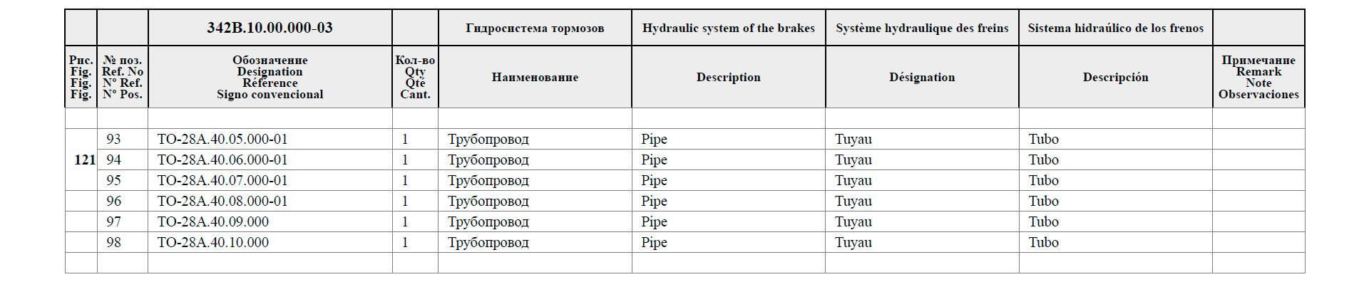 Гидросистема тормозов 342B.10.00.000-03
