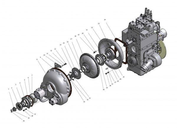 Передача гидромеханическая унифицированная У35.615-00.000-08